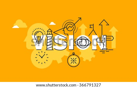 Thin Line Flat Design Banner Of Company Vision Statement Modern Vector Illustration Concept Word