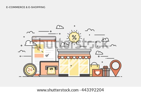Thin line flat design banner of E-Commerce and E-Shopping for website and mobile website, easy to use and highly customizable. Modern vector illustration concept, isolated on white background. - stock vector