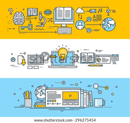 Thin line flat design banners for video tutorials, online training courses, online universities, online education. Vector illustrations for website banners, promotional materials, education app.     - stock vector