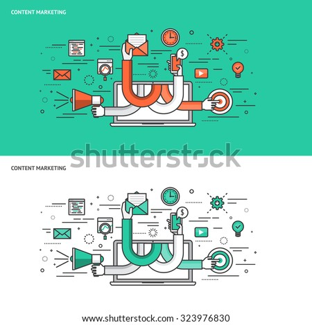 Thin line flat design concept banners for Content Marketing. Modern vector illustration  - stock vector