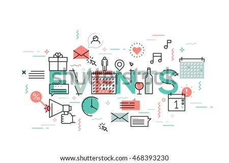 Thin Line Flat Design Concept Events Stock Vector 468393230