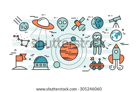 Thin line flat design concept of space exploration, vector illustration - stock vector