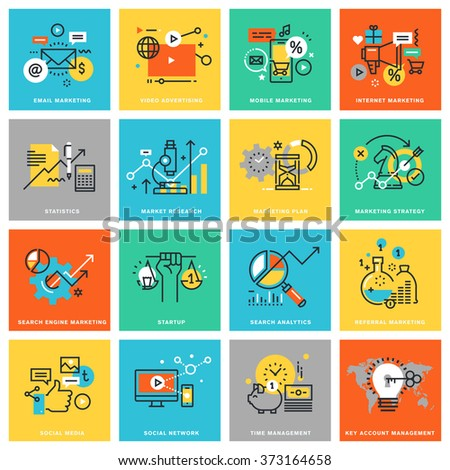 Thin line flat design icons for digital marketing, different categories of marketing and advertising, social media and network, analytics and planning, marketing strategy. Icons for web and app design - stock vector