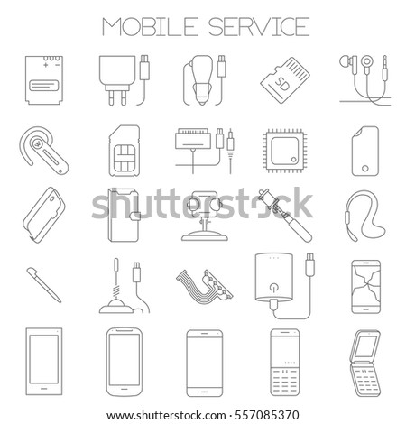 Thin line flat design mobile service and parts vector icon set.