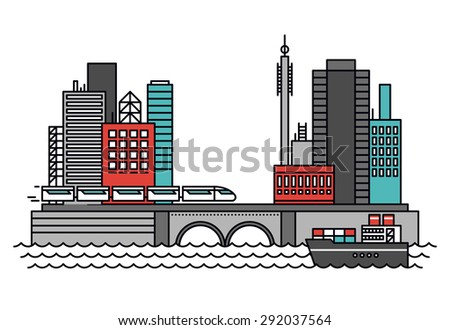 Thin line flat design of abstract existing business city architecture, urban infrastructure for shipping carriage and transportation. Modern vector illustration concept, isolated on white background. - stock vector