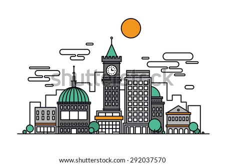 Thin line flat design of business city architecture, major commercial building and institution, historical tower and office residence. Modern vector illustration concept, isolated on white background. - stock vector