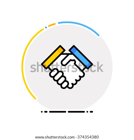 Thin line flat design of business concept. A handshake icon. - stock vector