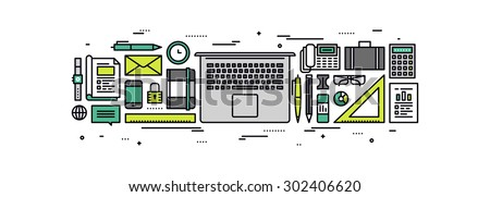 Thin line flat design of business essentials supplies, laptop with office tools and equipment, top view on work desk with accessories. Modern vector illustration concept, isolated on white background. - stock vector