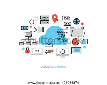 Thin line flat design of cloud computing datum architecture, internet network security connection for worldwide business multimedia. Modern vector illustration concept, isolated on white background. - stock vector
