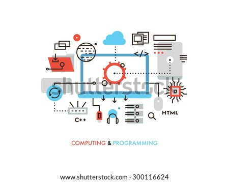 Thin line flat design of cloud computing technology, wireless communication, website programming code, hosting service for developers. Modern vector illustration concept, isolated on white background. - stock vector