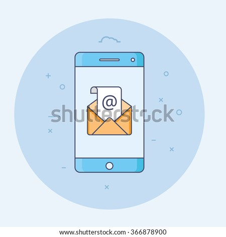 Thin line flat design of concept of regularly distributed news publication via e-mail with some topics of interest to its subscribers.  Smart phone and envelope icon for website and promotion banners. - stock vector
