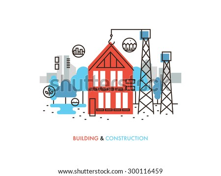 Thin line flat design constructing building stock vector for What is the process of building a house