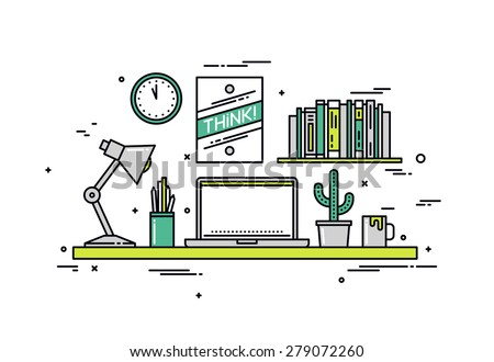 Thin line flat design of creative designer workspace, modern office desk with laptop, stylish hipster poster on wall for room interior. Modern vector illustration concept, isolated on white background - stock vector