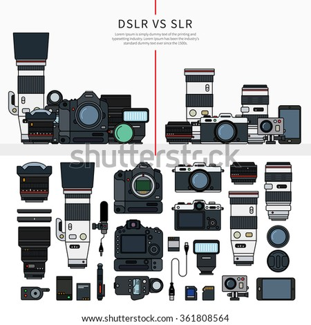 Thin line flat design of DSLR and SLR cameras. Digital single-lens reflex and single-lens reflex camera sets, parts of these cameras in order, lengs, cables, memory cards isolated on white background - stock vector