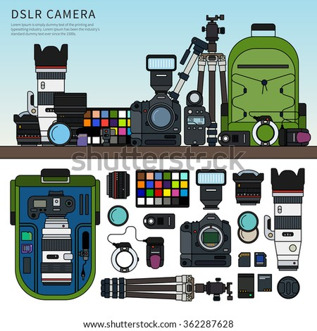Thin line flat design of DSLR camera. Photography set packed on the shelf, details of this set rucksack, tripod, memory cards, usb cables isolated on white background - stock vector