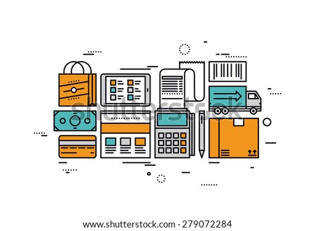 Thin line flat design of e-commerce services and retail goods delivery, online shopping checkout, paying for market product on website. Modern vector illustration concept, isolated on white background - stock vector