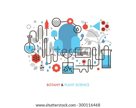 Thin line flat design of experimental plant biology, biochemistry process in nature, genetics cell development, botany science study. Modern vector illustration concept, isolated on white background. - stock vector