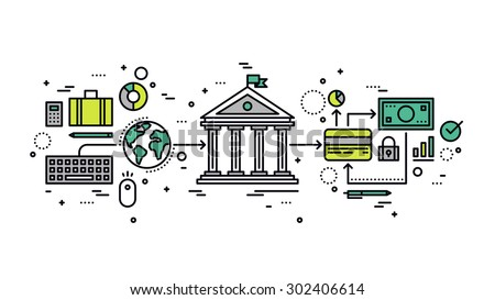 Thin line flat design of internet banking transaction, secure money transfer using credit card, online financial business operations. Modern vector illustration concept, isolated on white background. - stock vector