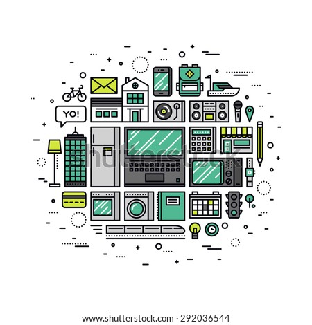 Thin line flat design of internet of things technology, IOT future network infrastructure of consumer electronics and home appliances. Modern vector illustration concept, isolated on white background. - stock vector