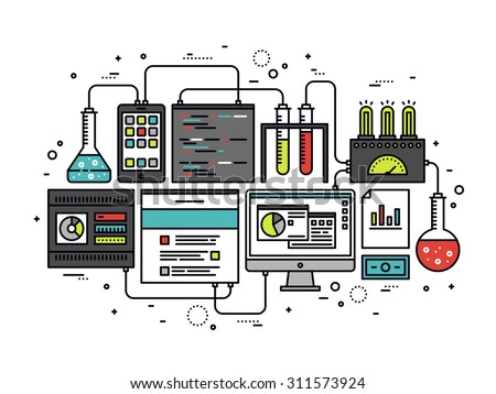 Thin line flat design of internet website content research, web CMS analysis measure, product testing technology, big data analytics. Modern vector illustration concept, isolated on white background. - stock vector