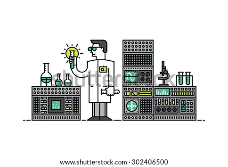Thin line flat design of lab scientist holding solution formula, medical discovery for health care, chemical substance analyze in flask. Modern vector illustration concept isolated on white background - stock vector