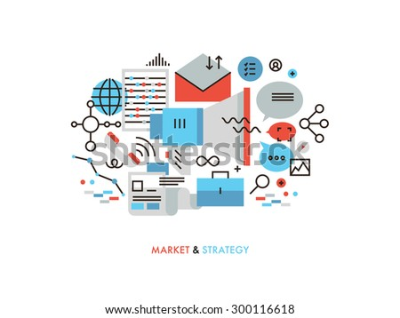 Thin line flat design of market strategy analysis, online marketing research, global business promotion,  information data management. Modern vector illustration concept, isolated on white background. - stock vector