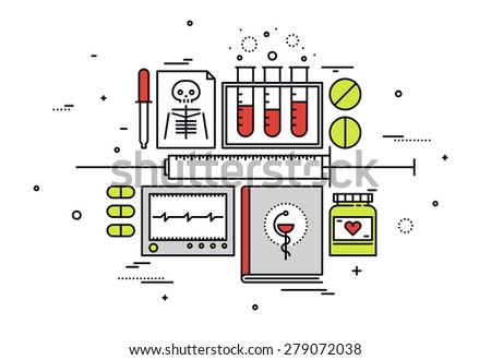 Thin line flat design of medical equipment, medicine research and hospital records, healthcare diagnostics, science analysis.  Modern vector illustration concept, isolated on white background. - stock vector
