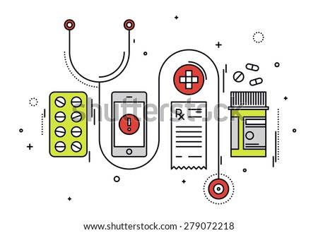 Thin line flat design of medicine diagnostic and medication prescription, healthcare equipment, medical app service on smartphone. Modern vector illustration concept, isolated on white background. - stock vector