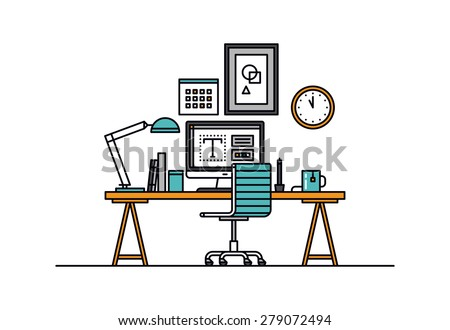 Thin line flat design of modern designer workspace with desktop computer, developer work place, artist equipment in office interior. Modern vector illustration concept, isolated on white background.  - stock vector