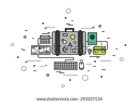 Thin line flat design of online booking tickets for travel, tourist suitcase with items, business travel planning, paying for vacation. Modern vector illustration concept, isolated on white background - stock vector