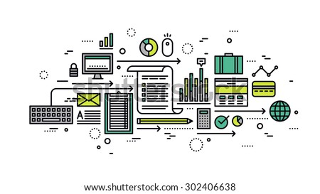 Thin line flat design of online business analytics, marketing strategy analysis, search optimization statistics, information research. Modern vector illustration concept, isolated on white background. - stock vector