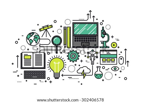 Thin line flat design of power of knowledge, STEM learning process, self education in applied science, computer technology for study. Modern vector illustration concept, isolated on white background. - stock vector