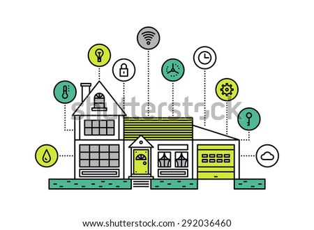 Thin line flat design of smart house technology system with centralized control of lighting, heating, ventilation and conditioning. Modern vector illustration concept, isolated on white background. - stock vector