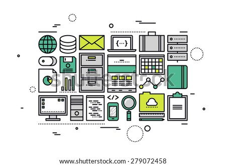 Thin line flat design of SQL database management operations, cloud computing programming service, company big data document accounting. Modern vector illustration concept, isolated on white background - stock vector