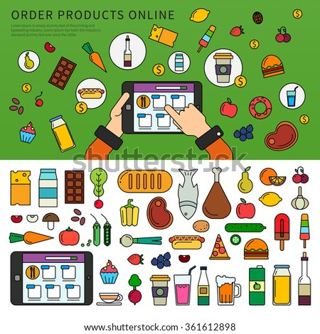 Thin line flat design of the hand choosing products on the tablet. App for ordering products online. Set of products, meat, vegetables, beverages isolated on white background  - stock vector