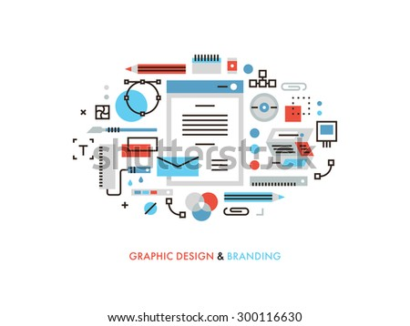 Thin line flat design of useful designer graphic tools, corporate colors for brandbook, designing new visuals for prints and packages. Modern vector illustration concept, isolated on white background. - stock vector