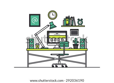 Thin line flat design of web designer workspace room interior, creative office desk with desktop computer, graphic artist work place. Modern vector illustration concept, isolated on white background. - stock vector