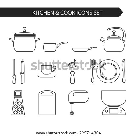 Thin Line Flat Vector Kitchen And Cook Icon. Design Elements Set For  Website Isolated On Part 80