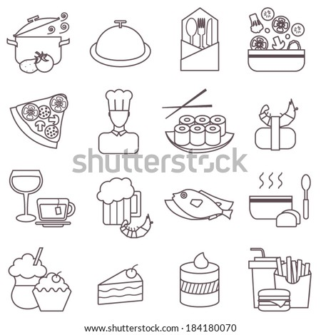 Thin line food icons set, restaurant vector collection