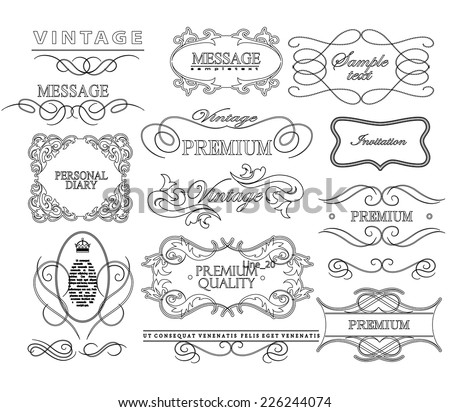 Thin Line frames and scroll elements. Set of calligraphic and floral design elements