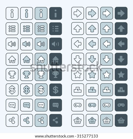 Thin line game icons buttons interface, ui