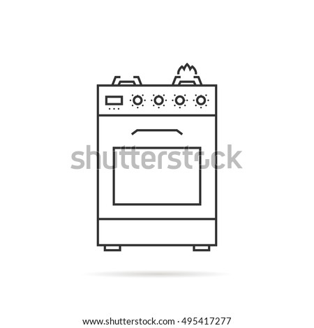 gas stove clipart black and white. thin line gas stove icon with shadow. concept of combined heater, dinner cooking, clipart black and white o