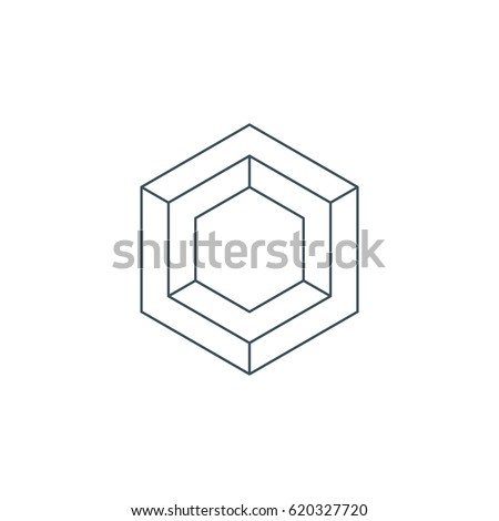 thin line hexagon symbol or icon. linear hexagonal logo. impossible geometric shape. sacred geometry. isolated on white background. vector illustration
