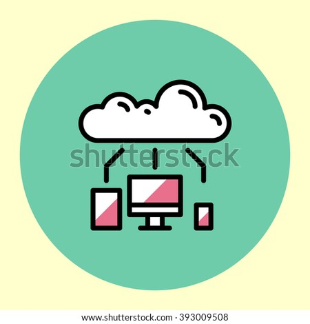 Thin Line Icon. Cloud Technology. Simple Trendy Modern Style Round Color Vector Illustration.