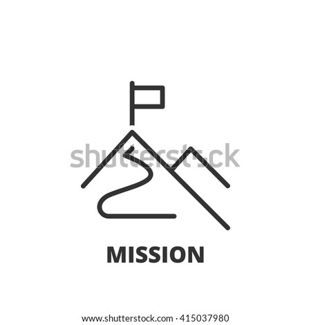 Thin line icon. Flat symbol about business. Mission - stock vector