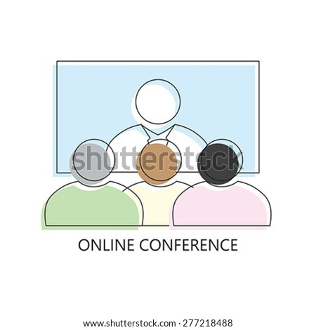 Thin line icon of Business communication promo marketing conference online. Modern flat line design element  isolated vector illustration - stock vector
