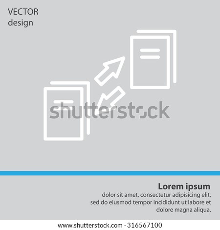 Thin line icon of data synchronization, update contents of computer file, sync servers, shared folder, web transfer info. - stock vector