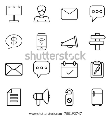 thin line icon set : billboard, woman, mail, message, money, phone wireless, loudspeaker, singlepost, sms, terms, clipboard pen, document, do not distrub, fridge