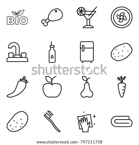 thin line icon set : bio, chicken leg, cocktail, cooler fan, water tap, vegetable oil, fridge, potato, hot pepper, apple, pear, carrot, tooth brush, wiping, towel