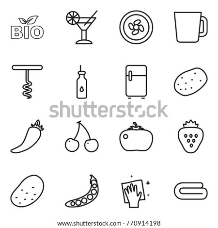 Thin line icon set : bio, cocktail, cooler fan, cup, corkscrew, vegetable oil, fridge, potato, hot pepper, cherry, tomato, strawberry, peas, wiping, towel